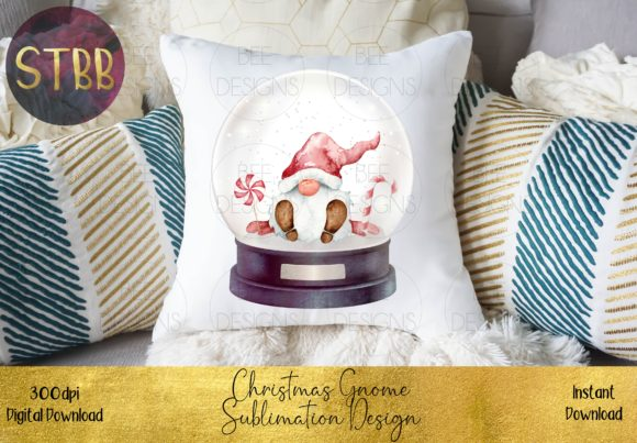 Christmas Gnome in a Snow Globe Graphic Download