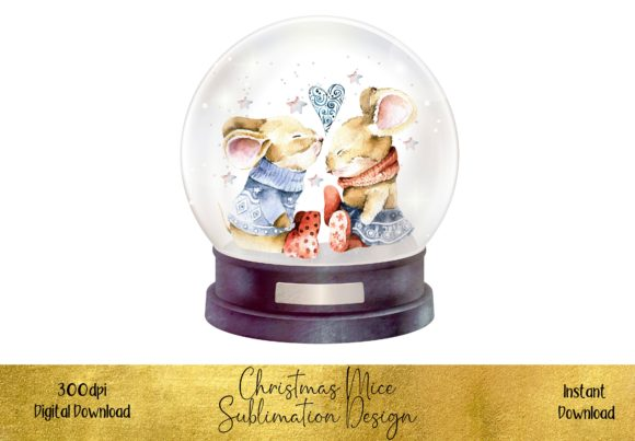 Christmas Mice in Love in a Snow Globe Graphic Illustrations By STBB