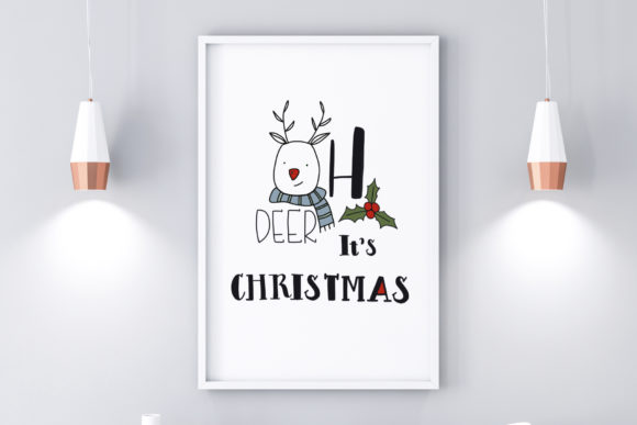 Print on Demand: Christmas Wall Art-Oh Deer-CuteChristmas Graphic Illustrations By Pui Pui