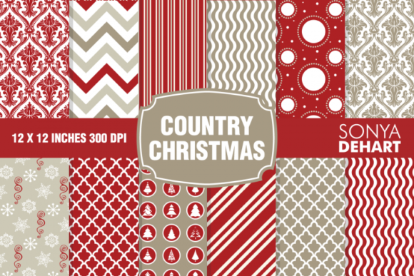 Print on Demand: Country Christmas Vintage Farmhouse Set Gráfico Moldes Por sonyadehart