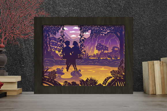 Print on Demand: Couple 11 Light Box Shadow Box Graphic 3D Shadow Box By LightBoxGoodMan