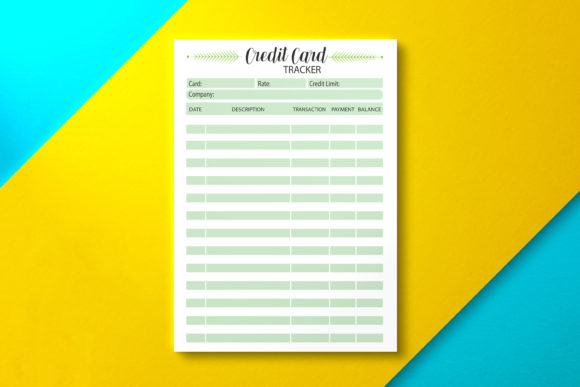 Credit Card Tracker Template Graphic KDP Interiors By Nickkey Nick