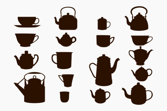 Cups and Pots Silhouette Vector Icon Graphic Web Elements By faqeeh