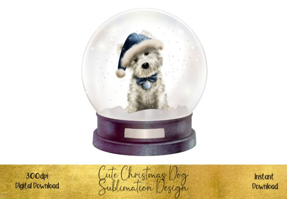 Cute Christmas Dog in Snow Globe Graphic