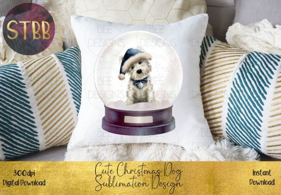 Cute Christmas Dog in Snow Globe Graphic Download