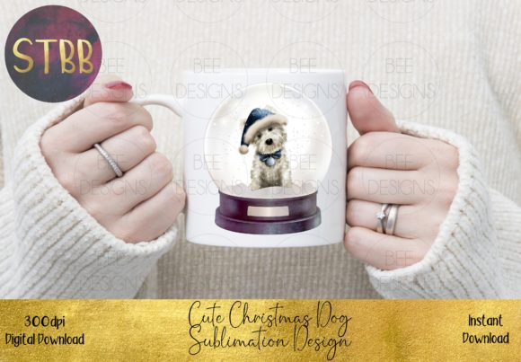 Cute Christmas Dog in Snow Globe Graphic Item