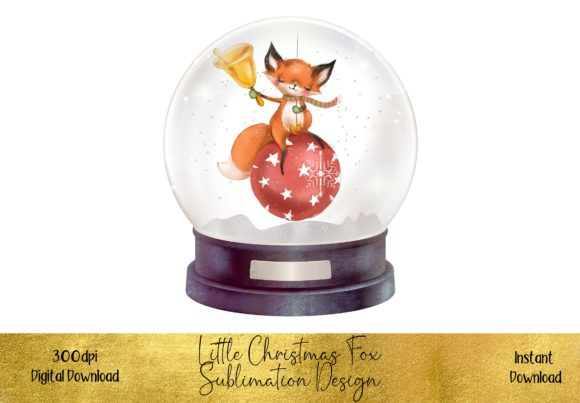 Cute Christmas Fox in a Snow Globe Graphic Illustrations By STBB