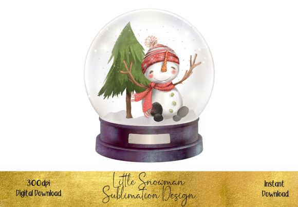 Cute Snowman in a Snow Globe Graphic Illustrations By STBB
