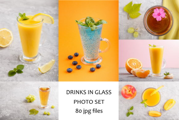 Drinks and Fruit Juice in Glass Graphic Food & Drinks By Uladzimir Zgurski Photos