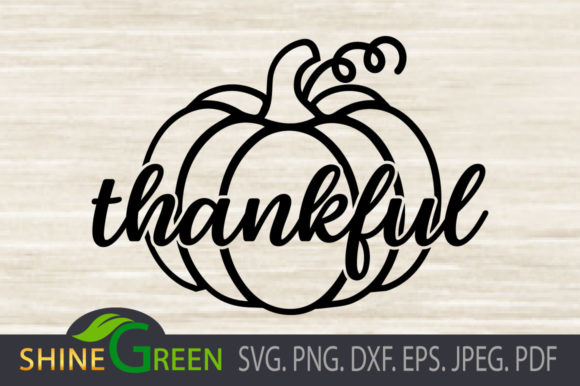 Print on Demand: Fall Pumpkin Thankful Graphic Crafts By ShineGreenArt