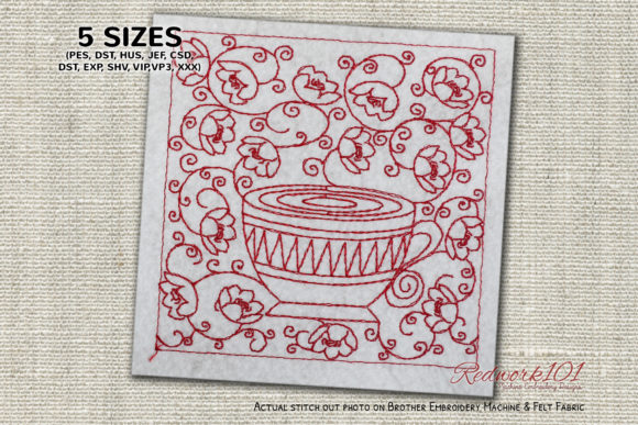 Floral Seamless Pattern with Coffee Cup Tea & Coffee Embroidery Design By Redwork101