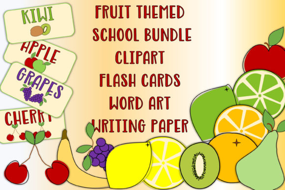 Print on Demand: Funky Fruits Clipart and Resources Pack Graphic 1st grade By The Paper Princess