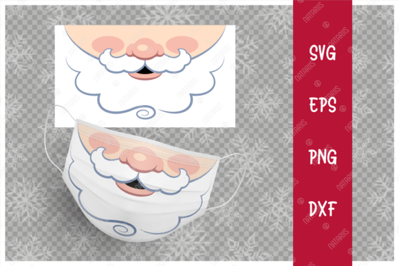 Funny Mouth of Santa Claus for Face Mask Graphic