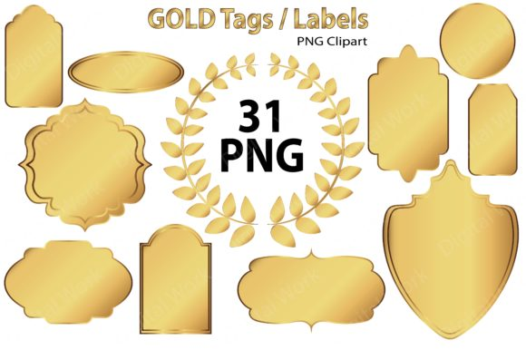 Gold Clipart - Tags - Labels Graphic Illustrations By LeskaHamatyDesign