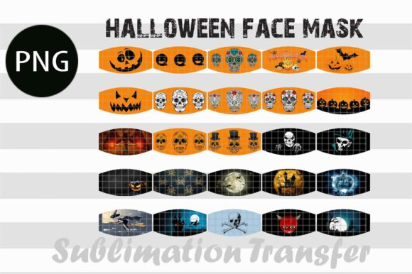 Print on Demand: Halloween Face Mask Designs 25 Bundle Graphic Print Templates By Creative Crafts