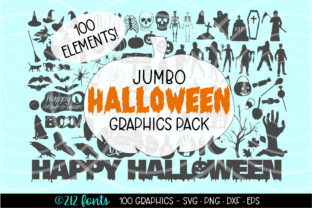 Print on Demand: Halloween Graphics Bundle Clip Art Pack Graphic Illustrations By 212 Fonts