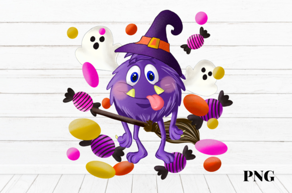 Print on Demand: Halloween Monster Candy Sublimation Graphic Illustrations By Suda Digital Art