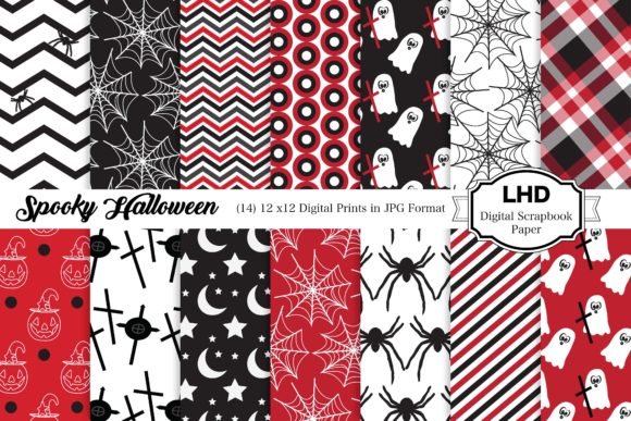 Halloween Scrapbook Paper Graphic Patterns By LeskaHamatyDesign