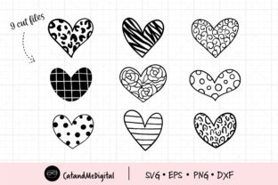 Hand Doodle Heart Cutting Files Graphic Illustrations By CatAndMe