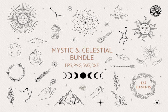 Hand Drawn Mystic & Celestial Bundle Grafik Illustrations von Kirill's Workshop