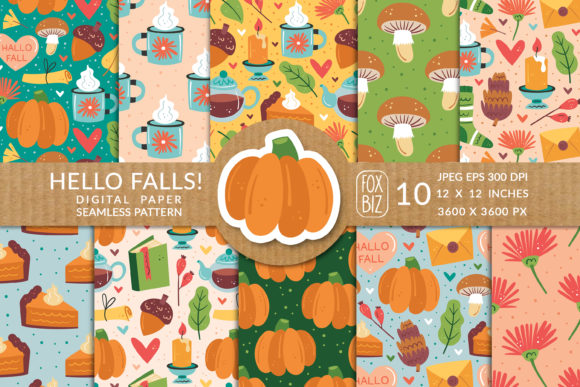 Print on Demand: Hello Falls. Digital Seamless Patterns. Graphic Patterns By FoxBiz