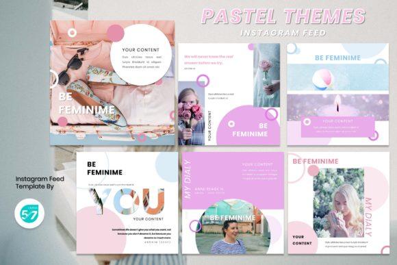 Instagram Feed Template - Pastel Themes Graphic Presentation Templates By maju57creative