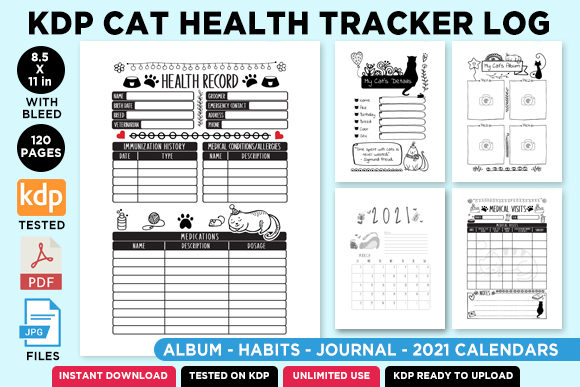 Print on Demand: KDP Cat Health Tracker Log Journal 2021 Graphic KDP Interiors By Queen Dreams Store - Image 1