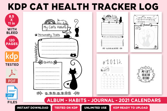 Print on Demand: KDP Cat Health Tracker Log Journal 2021 Graphic KDP Interiors By Queen Dreams Store - Image 2