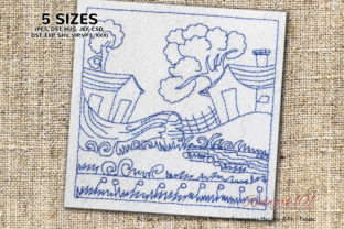 Landscape Scene of Village Cities & Villages Embroidery Design By Redwork101