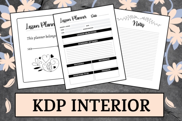 Print on Demand: Lesson Planner | KDP Interior Graphic KDP Interiors By Hungry Puppy Studio
