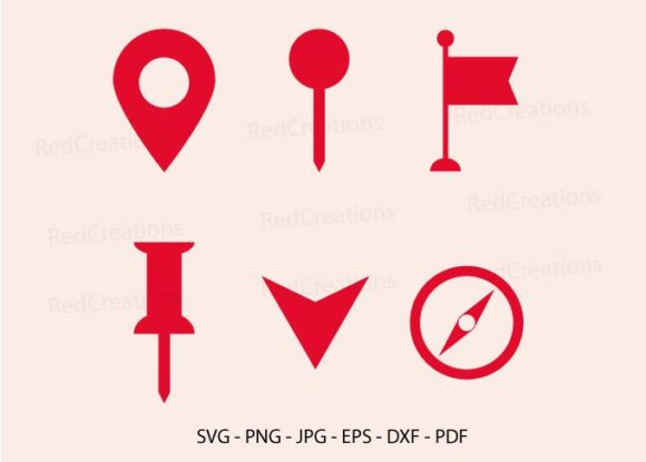 Map Pin Silhouette Graphic Crafts By RedCreations