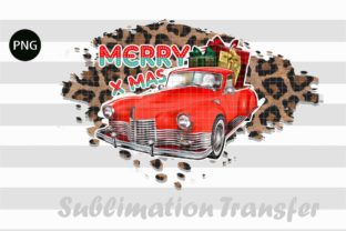 Print on Demand: Merry Christmas Red Truck Leopard Graphic Print Templates By Creative Crafts
