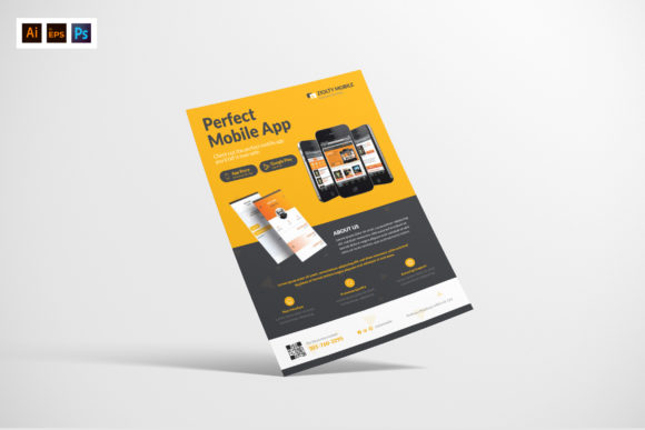 Mobile App Flyer Design Graphic Print Templates By afahmy