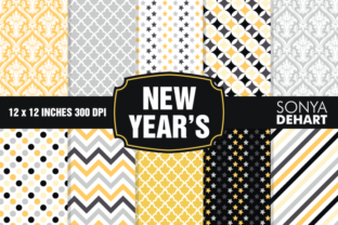 Print on Demand: New Year's Eve Digital Paper Pattern Set Graphic Patterns By sonyadehart
