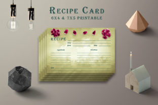 Print on Demand: Olive Green Recipe Card Printable V38 Graphic Print Templates By Creative Tacos