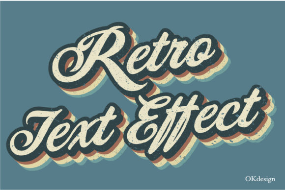 Retro Style Text Effect Preset Ai Graphic Layer Styles By OKdesign