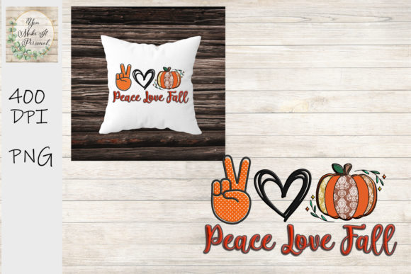 Print on Demand: Peace Love Fall, Polka Dots and Damask Graphic Print Templates By You Make It Personal