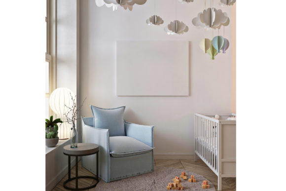Poster Mockup in Baby Room with Armchair Graphic Product Mockups By izharartendesign