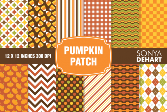Print on Demand: Pumpkin Patch Fall Autumn Digital Papers Graphic Patterns By sonyadehart