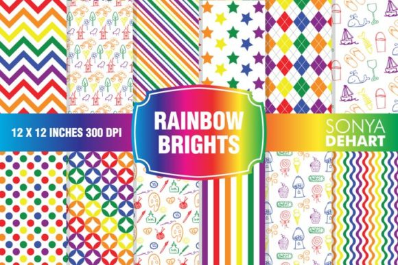 Print on Demand: Rainbow Bright Digital Paper Pattern Set Graphic Patterns By sonyadehart