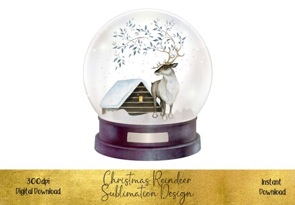 Reindeer in a Snowglobe Graphic Illustrations By STBB