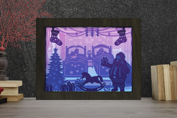 Santa Claus 1 Light Box Shadow Box Graphic 3D Shadow Box By LightBoxGoodMan