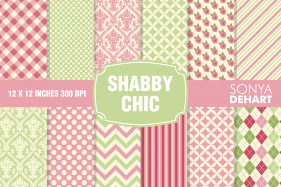 Print on Demand: Shabby Chic Digital Paper Pattern Set Graphic Patterns By sonyadehart