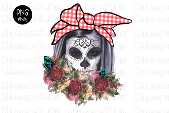 Skull Flowers Wreath,Day of the Dead PNG Graphic Print Templates By CSDesign