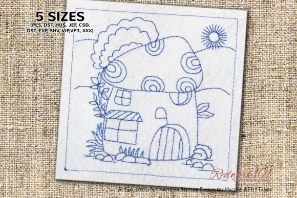 Small Mushroom House Lineart Design House & Home Quotes Embroidery Design By Redwork101