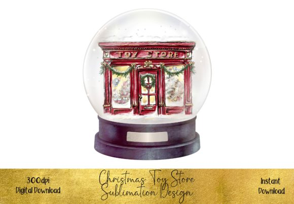 Traditional Toy Store in a Snow Globe Graphic Illustrations By STBB