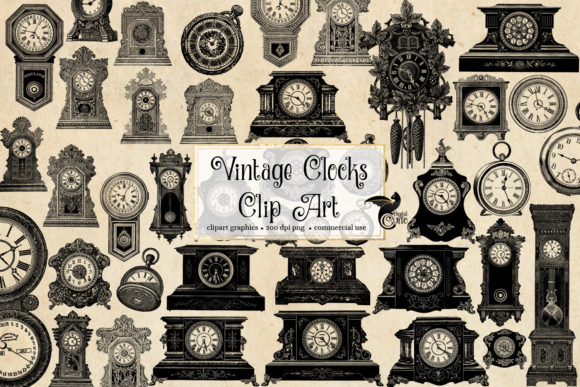 Print on Demand: Vintage Clocks Clipart Graphic Illustrations By Digital Curio