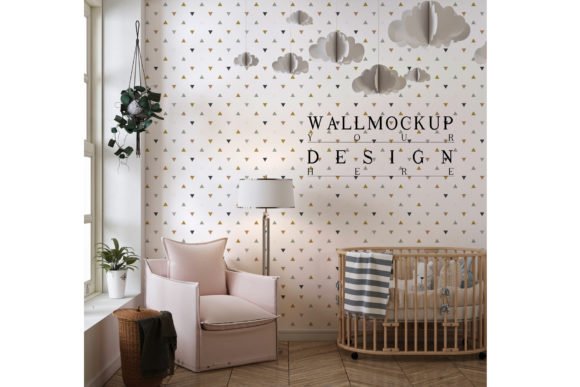 Wall Mockup in Cute Nursery Room Graphic Product Mockups By izharartendesign