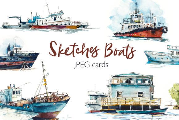 Watercolor Boats Cards Graphic Illustrations By Мария Кутузова
