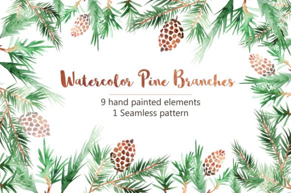 Watercolor Pine Branches Set Graphic